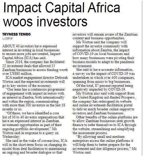Zambia Daily Mail Article